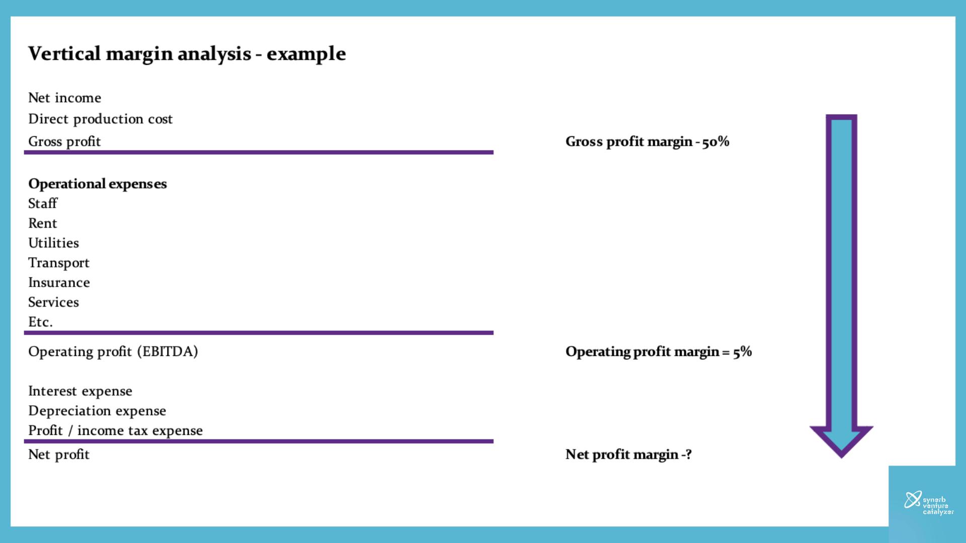 Social Enterprise vertical analysis gross operating net profit margins